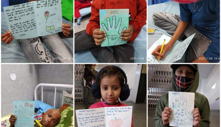Pic 2 ( Kids with Cancer showing their Hand written letters to PM)