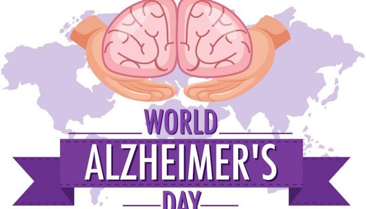 World Alzheimer's Day logo or banner with brain